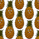 Seamless background with pineapple character