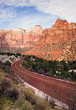 Highway 9 Zion Park Blvd Curves Through Rock Mountains