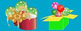 Colorful gift boxes surprise celebration