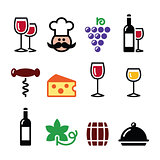 Wine colourful icons set - glass, bottle, restaurant, food