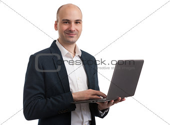 attractive young business man with laptop