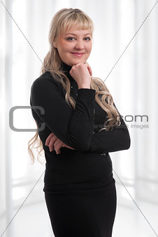 blonde woman portrait over a white background