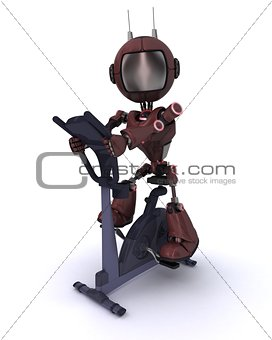 Andriod at the gym on  an exercise bike