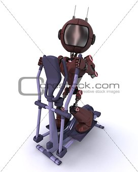 Andriod at the gym on a cross trainer