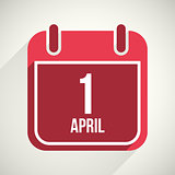 Vector flat calendar apps icon. 1 april fool's day