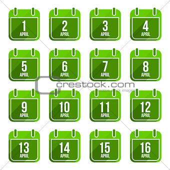 April vector flat calendar icons. Days Of Year Set 13