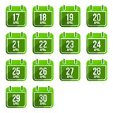 April vector flat calendar icons. Days Of Year Set 14