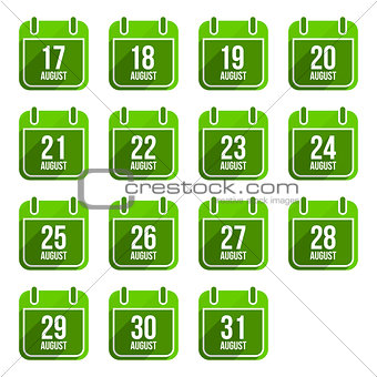 August vector flat calendar icons. Days Of Year Set 22