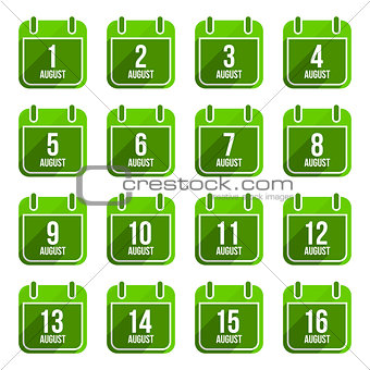 August vector flat calendar icons. Days Of Year Set 21