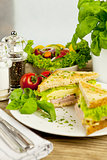 fresh tasty club sandwich with cheese and ham on table