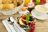 tasty breakfast with flakes and fruits in morning