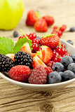 fresh tasty berry collection on table in summer