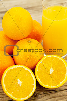 fresh and  healthy tasty orange juice on table