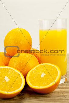 fresh and  healthy tasty orange juice on table