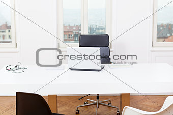 office workplace table and laptop white background architecture
