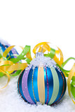 christmas decoration baubles in blue and turquoise isolated