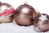 elegant bronze golden christmas decoration isolated
