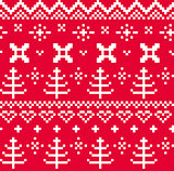 Christmas Norwegian seamless knitting pattern ( red & white )