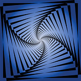 Torsion movement illusion. Abstract blue background.