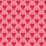 Pink and red vector background with hearts. Full of love seamless pattern