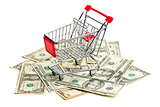 shopping cart on american dollars