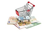 shopping cart on euro currency