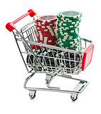 poker chips in shopping cart