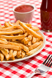 french fries on plate with ketchup