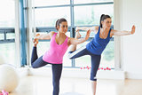 Fit women doing the balancing yoga pose in fitness studio