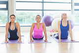 Three women doing the cobra pose in fitness studio