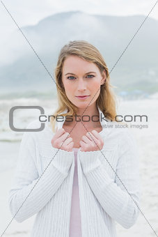 Portrait of a serious casual woman at beach
