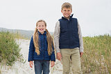 Portrait of a happy siblings at beach