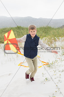 Cheerful young boy with kite at beach