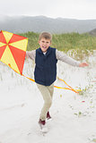 Cheerful boy with kite at beach