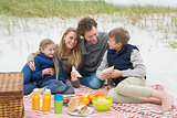Happy family of four at a beach picnic