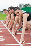 Young people ready to race on track field