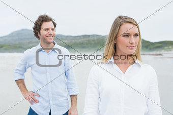 Portrait of a casual young couple at beach