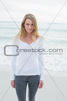 Portrait of a casual woman at beach