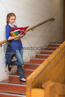 Redhead serious student reading notes on the stairs