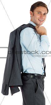Smiling businessman holding his jacket