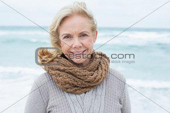 Portrait of a casual senior woman at beach