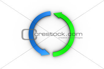 Green and blue arrow graphic