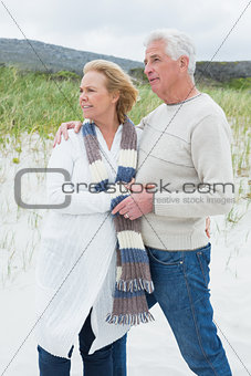 Relaxed romantic senior couple at beach