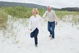 Cheerful senior couple running at beach