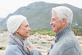 Senior couple together on a rocky landscape