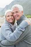 Portrait of a romantic senior couple hugging