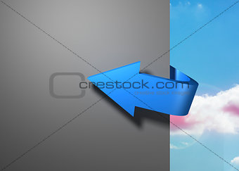 Blue arrow pointing around a wall against sky