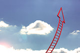 Red ladder arrow pointing up against sky