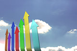 Colourful arrows pointing up against sky