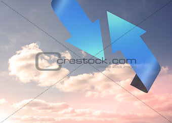 Blue arrows pointing against sky